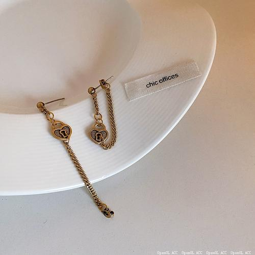 法式复古做旧小众金属爱心锁芯耳环女简约百搭气质