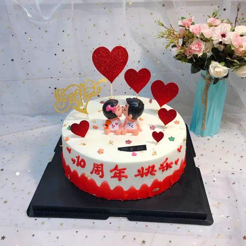 节表白求婚浪漫婚礼结婚纪念日主题接吻亲嘴娃娃蛋糕装饰摆.
