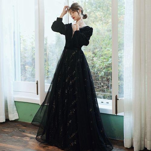 guialabruna黑色宴会深v领礼服2021新款春季丝绒长袖