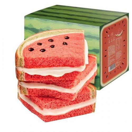 西瓜吐司面包西瓜面包西瓜味吐司甜品网红小吃夹心吐司面包早餐 1000g