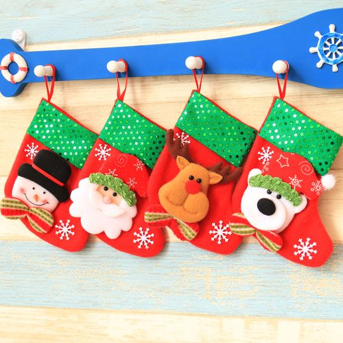 圣诞装饰用品圣诞袜礼物袋圣诞树挂件圣诞装饰糖果亮片复古小袜子