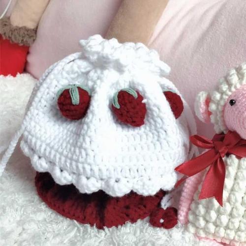 小巧礼物新手清新手工包编织手作草莓蛋糕包包红草莓