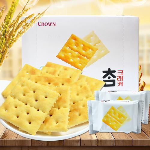 韩国食品进口零食crown克丽安大太口苏打饼干280g原味