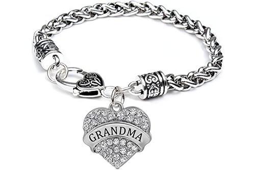 luvalti 奶奶爱心手链 - 银色心吊坠手链 - *好的家庭珠宝礼物