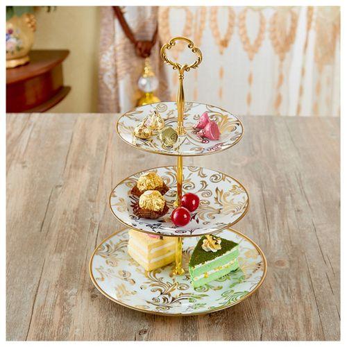 陶瓷三层欧式家用 蛋糕盘点心架创意糖果干果托盘轻奢