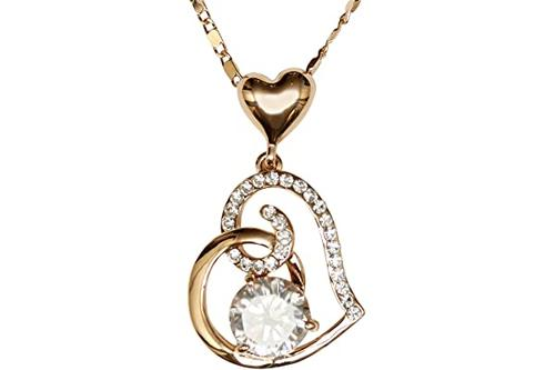 家庭珠宝心形 18k 玫瑰金镀金吊坠项链