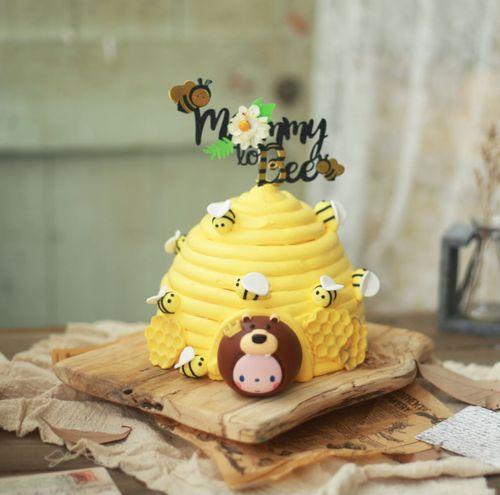 皇冠猴品牌生日蛋糕装饰摆件卡通儿童生日派对可爱森林小狮子蜜蜂