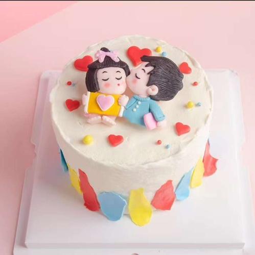 七夕节软陶情侣插件婚礼订婚蛋糕装饰男孩女孩