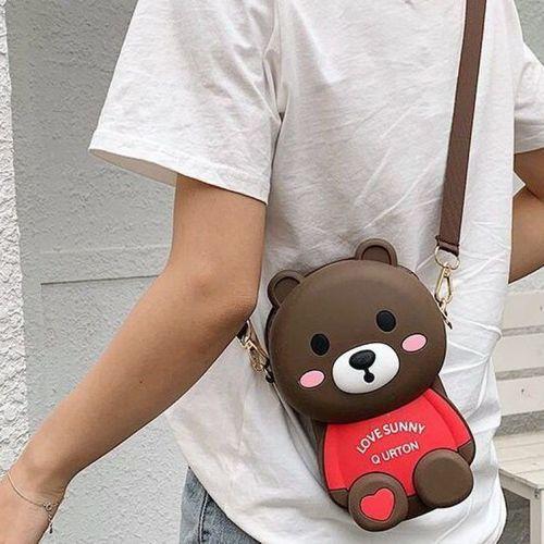 卡通小包包女新款欢乐熊硅胶公仔斜挎包潮流网红小熊包夏季款背包 深