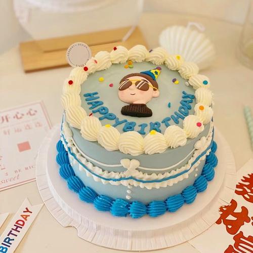烘焙蛋糕装饰卡通软陶父亲节墨镜潮男男孩生日蛋糕