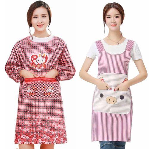 厨房围裙女背带透气防污防油围裙罩衣餐厅工作服男女上班长袖罩衣
