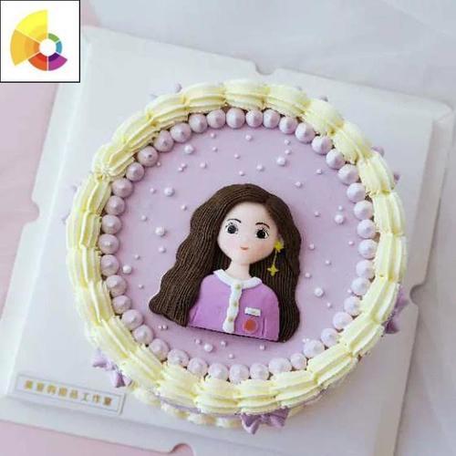 网红生日蛋糕装饰插件软陶长发耳钉妈妈女孩女神母亲