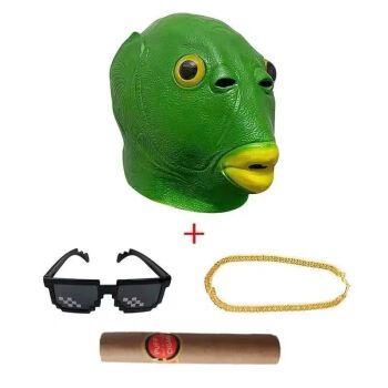 抖音绿头鱼头套鱼人头套绿鱼人鱼头头套绿头怪绿色鱼头套面具全脸 网