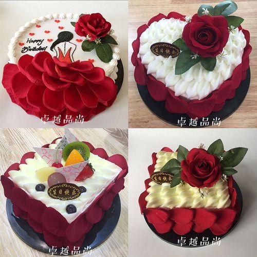 卓越蛋糕模型新款心形玫瑰花场景生日蛋糕模型欧式假