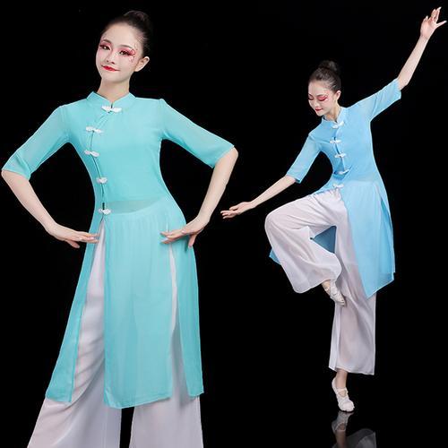 古典舞演出服女身韵纱衣练功服舞蹈服装飘逸中国风现代形体表演服