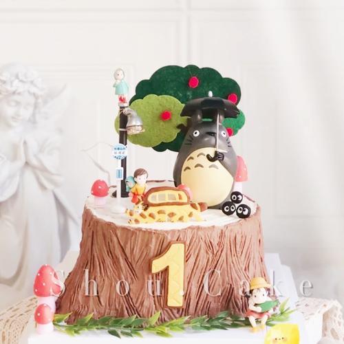 龙猫卡通生日蛋糕纸杯甜品推推乐装饰插签宝宝满月周岁主题插牌