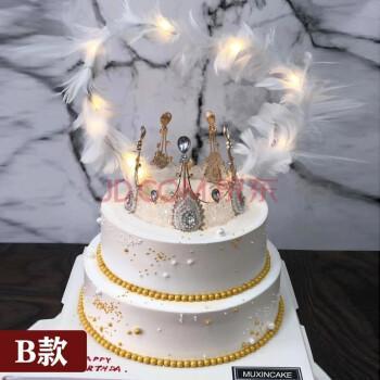 天使女王皇冠女生网红双层生日蛋糕同城配送天津沈阳上海成都重庆