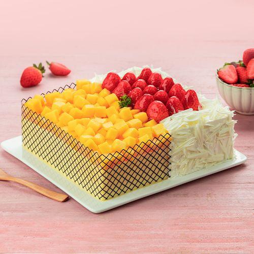 【一半是芒果慕斯 一半是草莓慕斯】两情相悦蛋糕,可选1234磅(潜江)