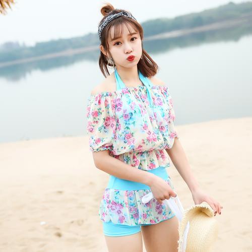 新款女士三件套加钢托比基尼海滩泳衣 分体游泳性感印花裙式泳装