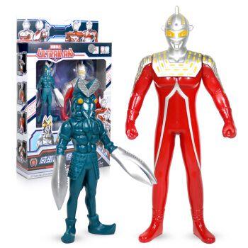 咸蛋超人男孩儿童超人战士人偶玩偶对战怪兽集合套装 超人赛文+怪兽