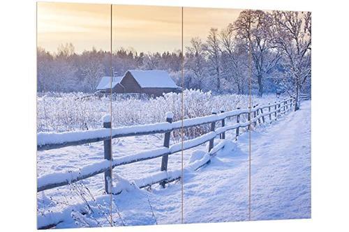 pixxprint 冬季风景,mdf 板外观规格:80x60cm,墙壁装饰木画,木材,彩色