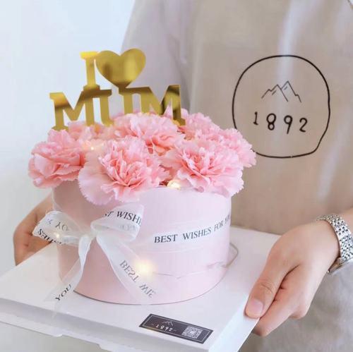 母亲节蛋糕装饰康乃馨蛋糕装饰粉色蛋糕围边 妈妈亚克力插牌插件