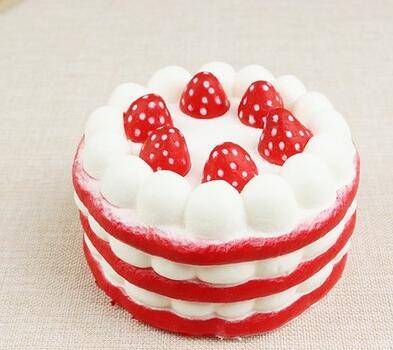 抖音仿真草莓生日蛋糕慢回弹解压发泄捏捏乐玩具早教
