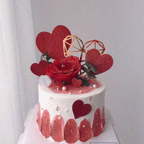 蛋糕装饰爱心插牌大小爱心套装7支 节 婚礼甜品台
