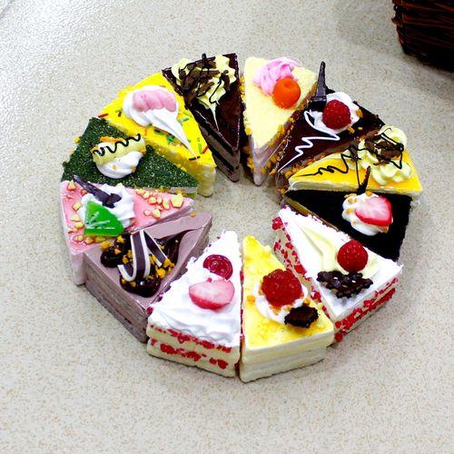 仿真三角形蛋糕小点心pu蛋糕模型摆设道具冰箱贴家居