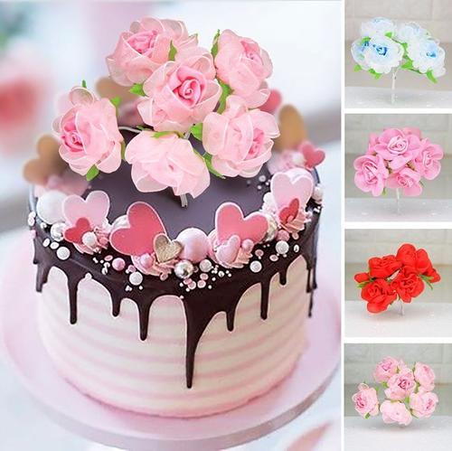 蛋糕装饰仿真花朵10支玫瑰小花朵蛋糕生日烘焙 创意甜品台装饰
