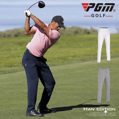 新款 pgm高尔夫球裤男士长裤夏秋季裤子透气型松紧腰带可插球tee