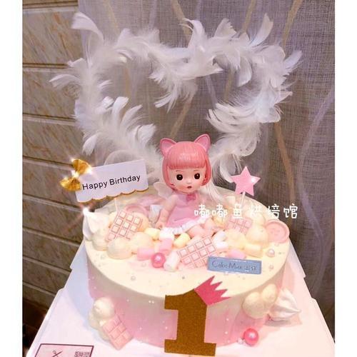 六一儿童节 宝宝一周岁生日蛋糕装饰 带翅膀婴儿女孩