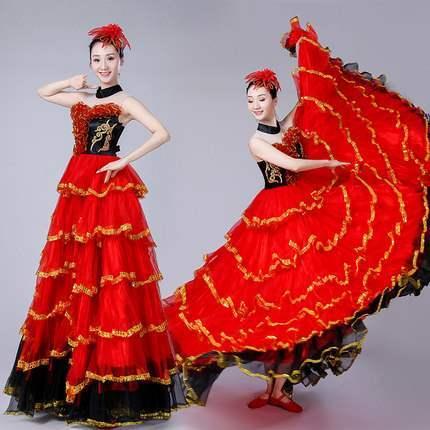 高档新款成人开场舞大摆裙西班牙斗牛舞蹈服歌伴表演