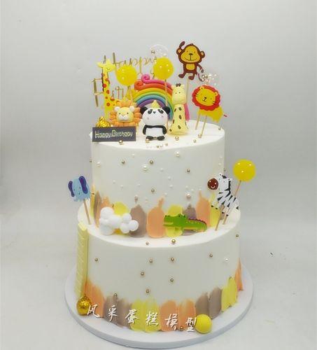 创意仿真蛋糕新款双层原始森林动物狮子熊猫卡通蛋糕