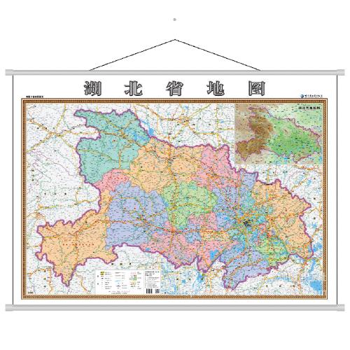 湖北省地图挂图超大1.4x1米2018年全新高清防水正版横