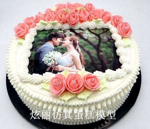 炫丽新款仿真蛋糕模型生日玫瑰花数码照片方形欧式