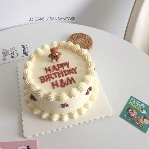 烘焙蛋糕装饰韩国ins可爱蝴蝶结小熊生日蜡烛儿童派对