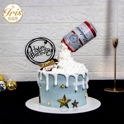 悬空啤酒瓶男士网红创意生日蛋糕 深圳广州上海