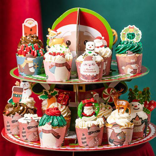 圣诞节纸杯蛋糕纸杯圣诞主题纸杯一次性小杯子家用烘焙专用耐高温