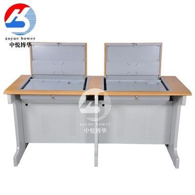 博华翻转电脑桌学校多媒体教室机房电脑培训桌课桌椅