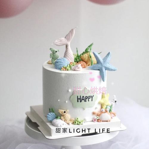 烘焙蛋糕装饰美人鱼摆件螃蟹海马海贝翻糖模具海洋主题甜品台配件