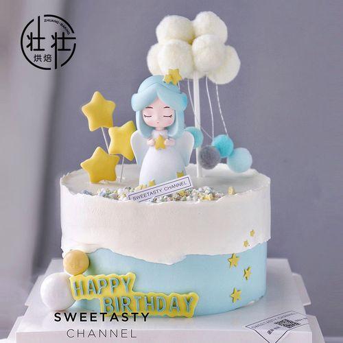 天使蛋糕烘焙摆件星星云朵压模女孩公主生日派对网红