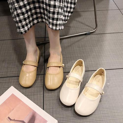 单鞋女平底玛丽珍鞋2019春季新款平跟百搭奶奶鞋韩版