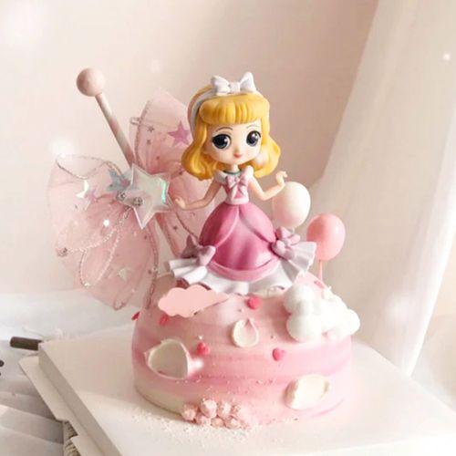 模型件公主办礼物玩具女生装饰粉色红卡通手网公仔摆女孩生日蛋糕
