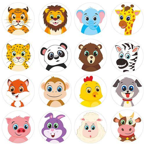 500张/卷儿童装饰贴纸可爱卡通动物牛小兔子装饰奖励