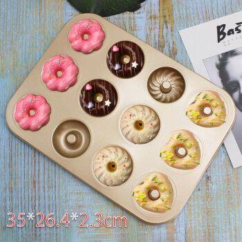 双孔6连12连蛋糕烤盘圆形麦芬蛋糕模具 烤箱家用小蛋糕模烘焙工具 12