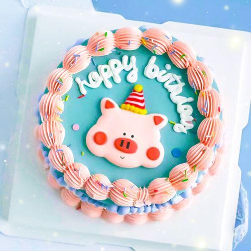 网红卡通可爱生日蛋糕装饰软陶小猪插件摆件生日摆件