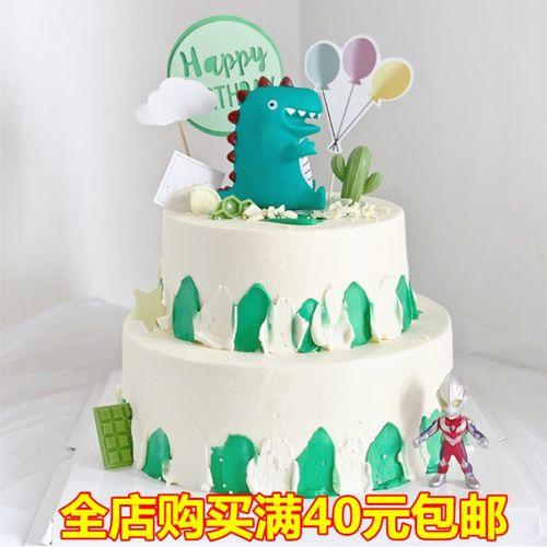 搪胶恐龙绿色恐龙小怪兽蛋糕装饰摆件卡通小恐龙玩具