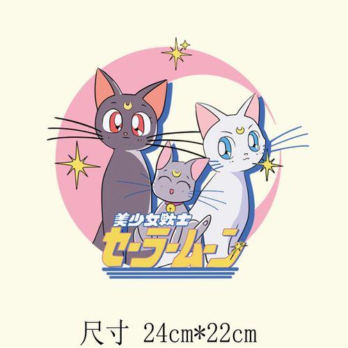 美少女战士卡通水冰月猫咪热转印烫图烫画贴a级粉耐水