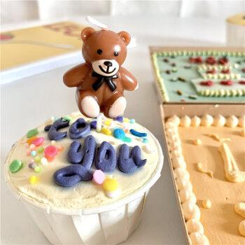 韩国ins风生日小熊蜡烛泰迪熊蛋糕插件儿童宝宝派对装饰拍照道具 咖啡